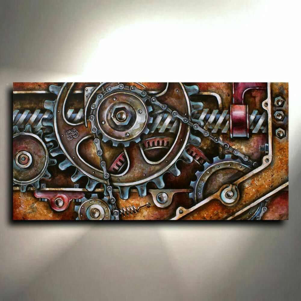 ABSTRACT DESIGN STEAMPUNK FISH CANVAS PRINT PICTURE WALL ART FREE FAST DELIVERY