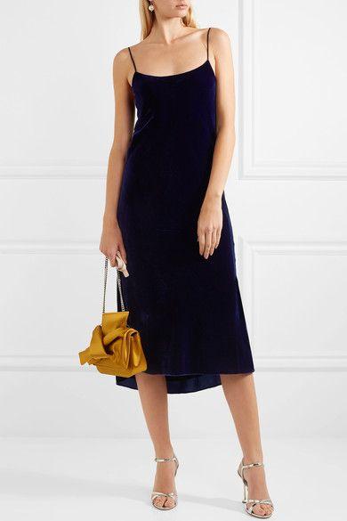 Silk-trimmed Velvet Midi Dress - Navy Tibi 1CbEI
