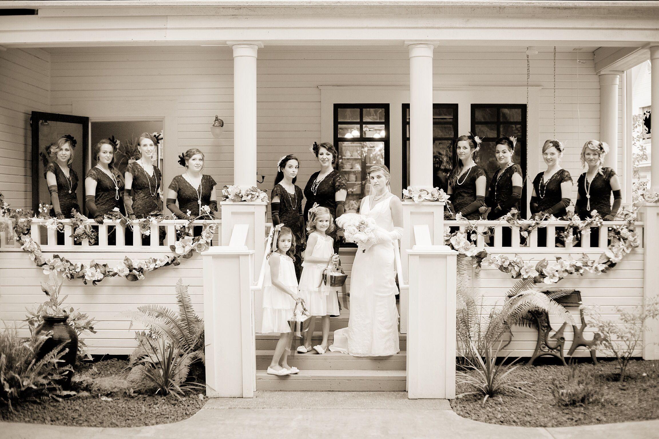 Bride And Bridesmaids 1910 1920s Themed Wedding Wedding