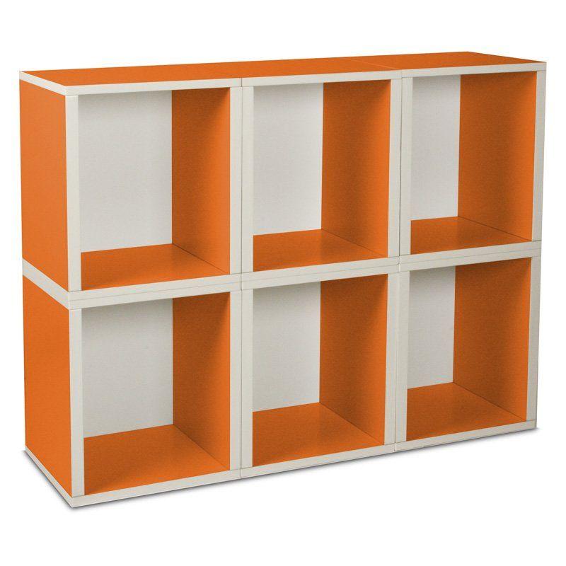 Way Basics Modular 6 Cube Tall Bookcase - Orange. $135