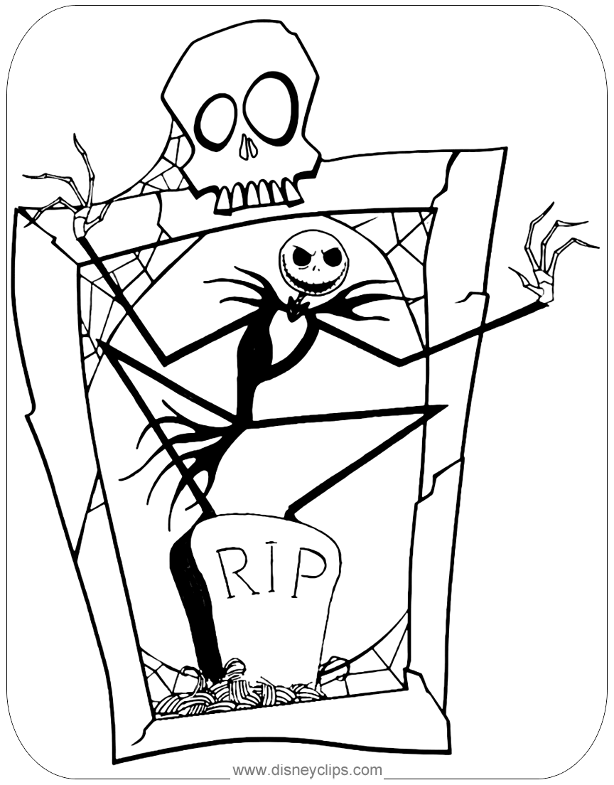 Jack Skellington coloring page from The Nightmare Before