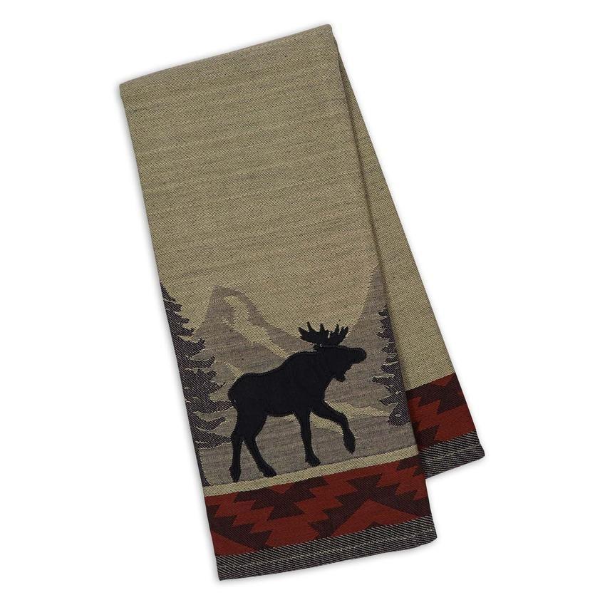 Moose Jacquard Dish Towel Applique Towels Dish Towels Mountain Print