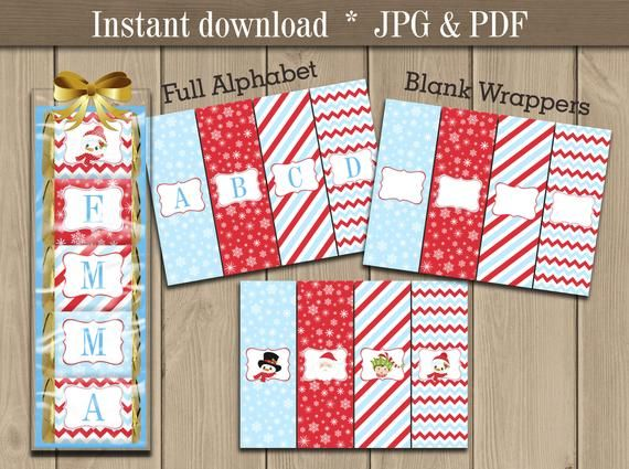 Christmas Candy bar Wrappers printable Chocolate Nugget Wrappers