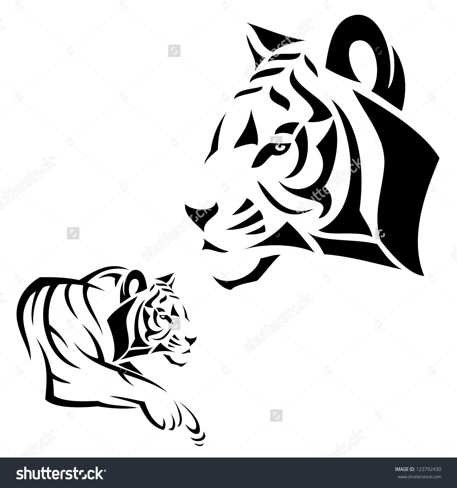 Tiger Outline Tattoo Tiger Tattoo Vector Illustration 123792430 Tiger Tattoo Tiger Outline Tattoos