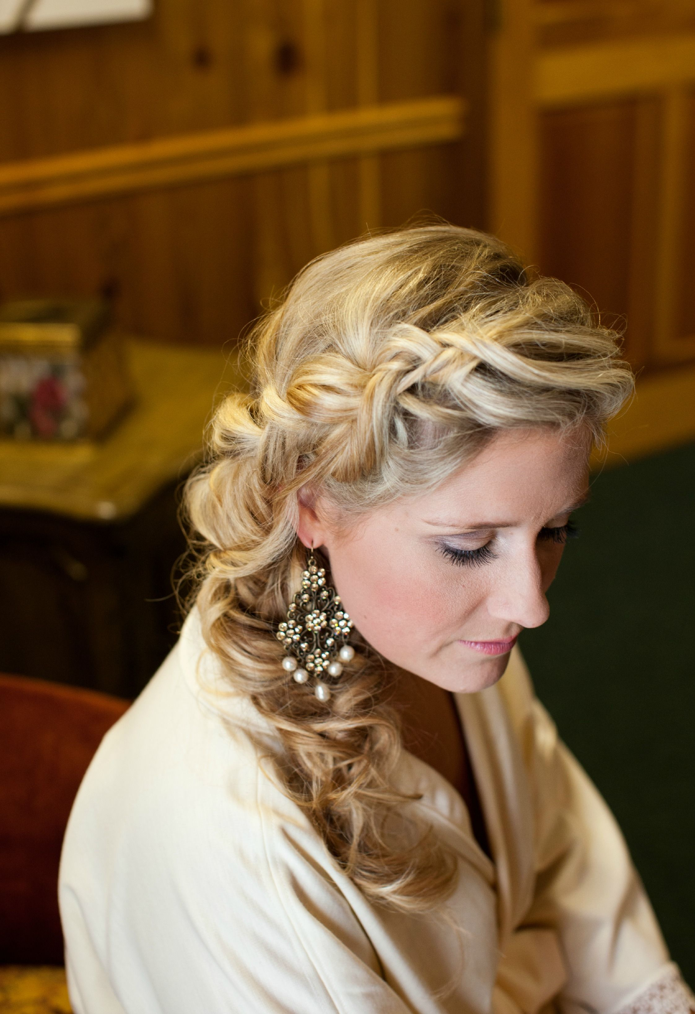 My bridal updo - messy side braid.