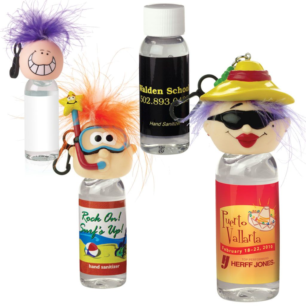 1 Oz Antibacterial Bulk Hand Sanitizer W Goofy Head Clip Beach
