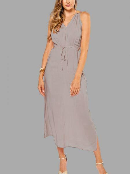 fb2682da92 Bohemia Sleeveless Back Lace-up Side Split Beach Maxi Dress from mobile -  US$17.95 -YOINS