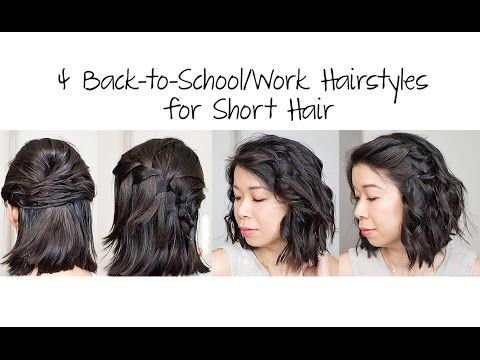 4 Easy 5 Min Back To School Work Hairstyles For Short Hair Mslabellemel Hair Styles Work Hairstyles Short Hair Styles