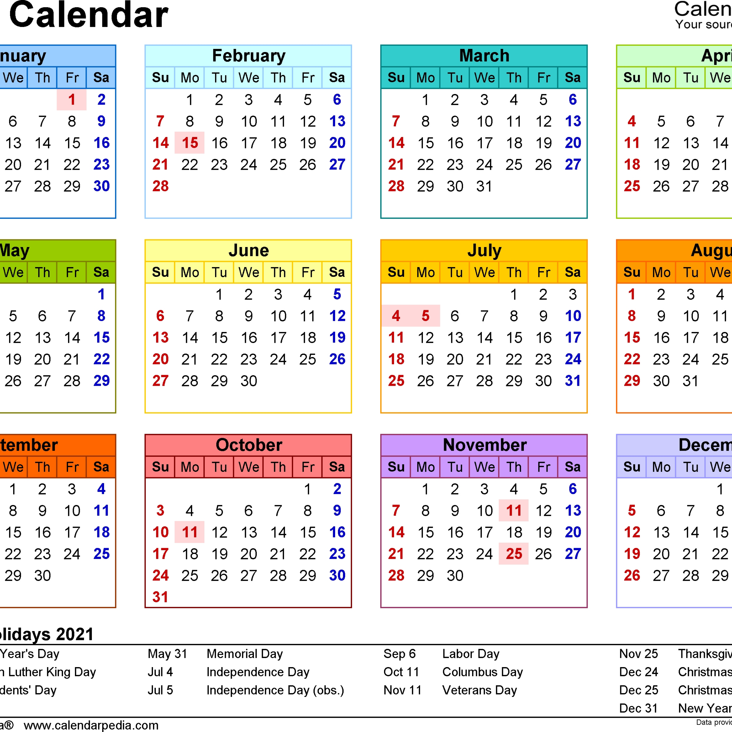 Free printable calendar with holidays for 2021 or any year. 20+ 2021 Holidays Calendar - Free Download Printable ...