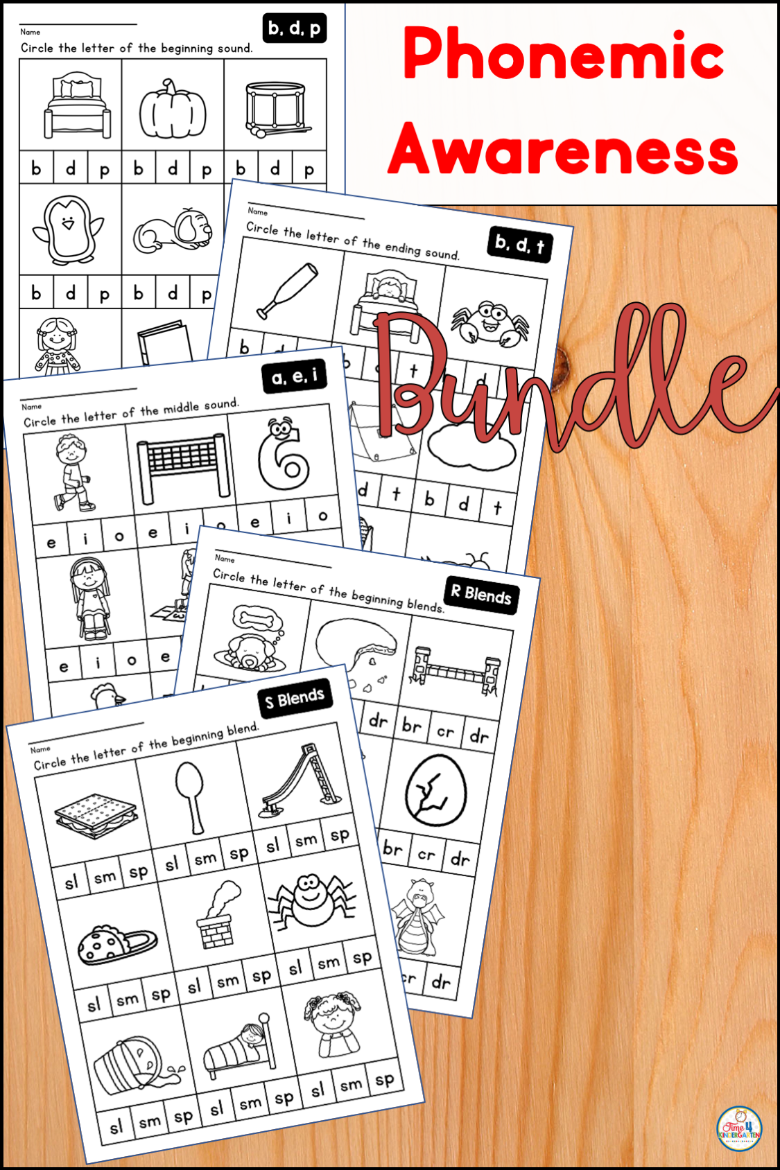 Phonemic Awareness Bundle For Kindergarten And First Grade