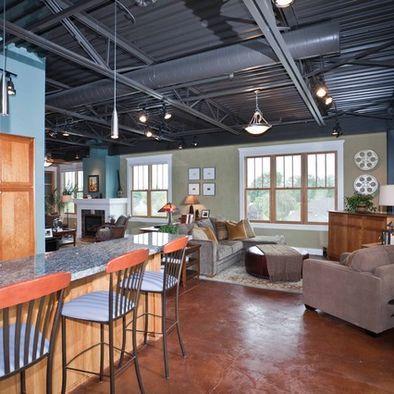 Exposed Hvac And A Metal Roof Ceiling Can Still Be Cozy Industrial Loft Design Loft Design Loft Interior Design
