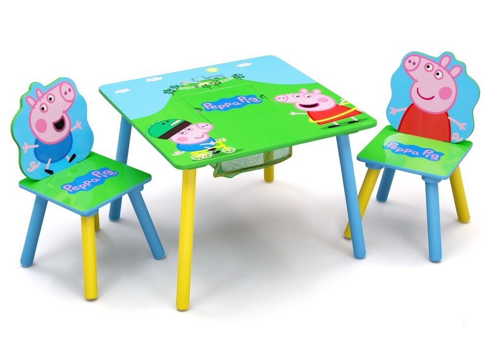 Kids Table Chair Storage Set Desk Study Play Wooden Peppa Pig Write Draw Room Entertainmentone Kids Toy Organization Kids Table And Chairs Peppa Pig Chair