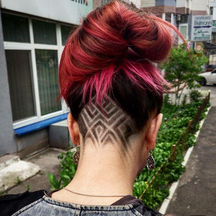 Undercut Frisuren Für Damen Geometrische Farbige Und