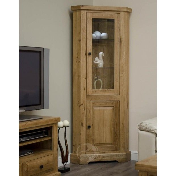 Coniston Rustic Solid Oak Corner Display Unit  Oak Furniture Uk Gorgeous Corner Cabinets Dining Room Furniture Decorating Inspiration