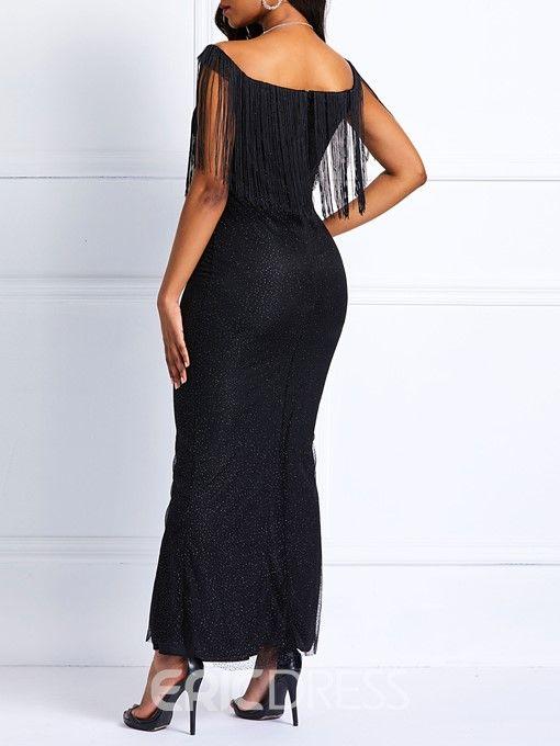 Ericdress Tassel Short Sleeve Floor-Length Mermaid Dress ...
