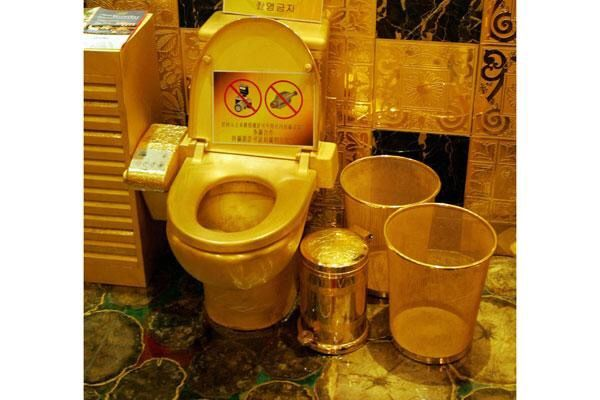 Golden Loo This toilet, manufactured by Hong Kong-based jeweler Hang Fung Gold Technology, and on display in its HK showroom, can truly be considered a throne.