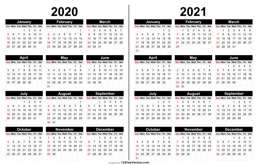 2020 And 2021 Calendar Printable Printable Yearly Calendar Calendar Printables Yearly Calendar Template