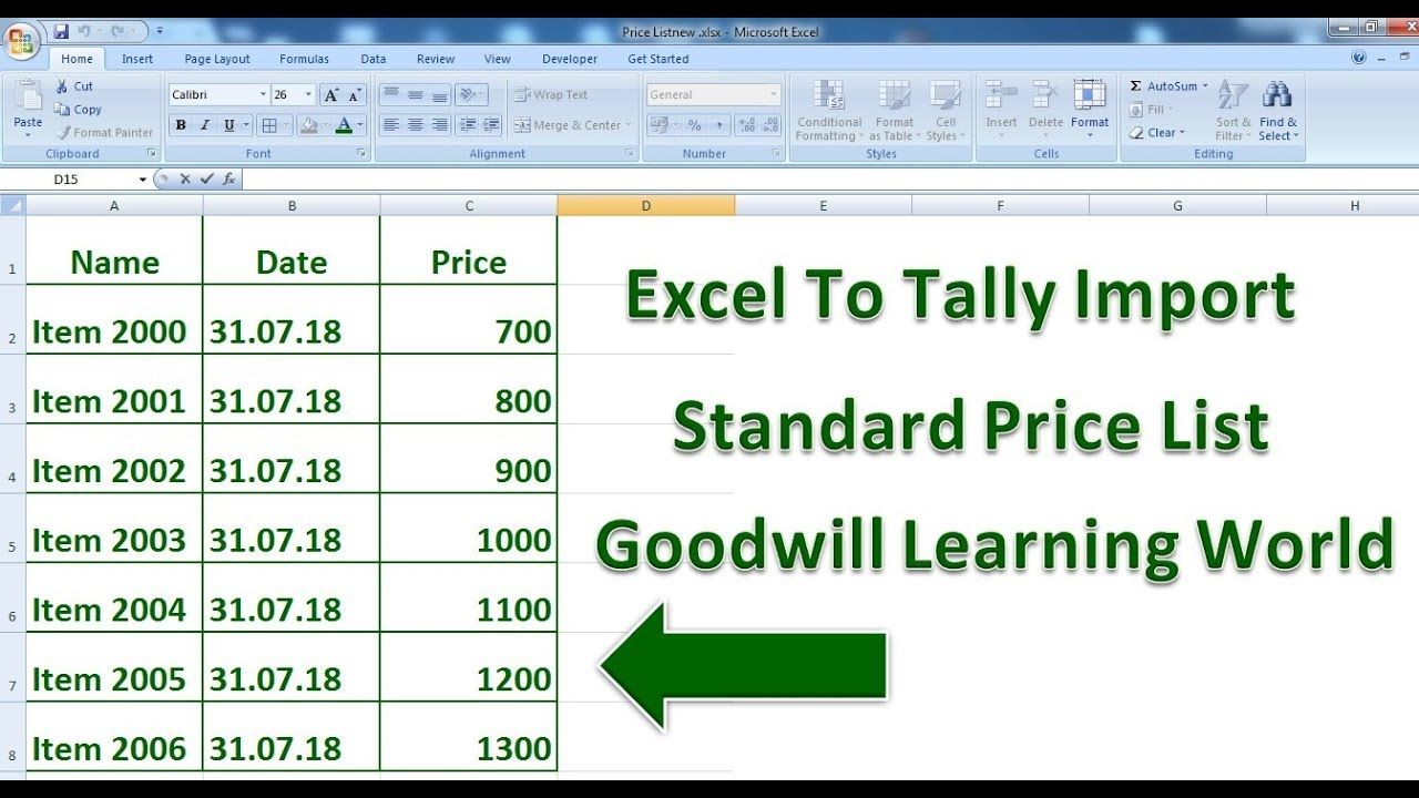 Tally TDL for Import Standard Selling Price from Excel
