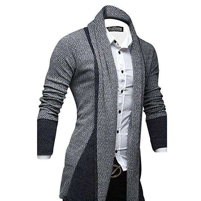 Strickjacke Herren Cardigan Jacke Hoodie V Ausschnitt Grau Langarm Feinstrick