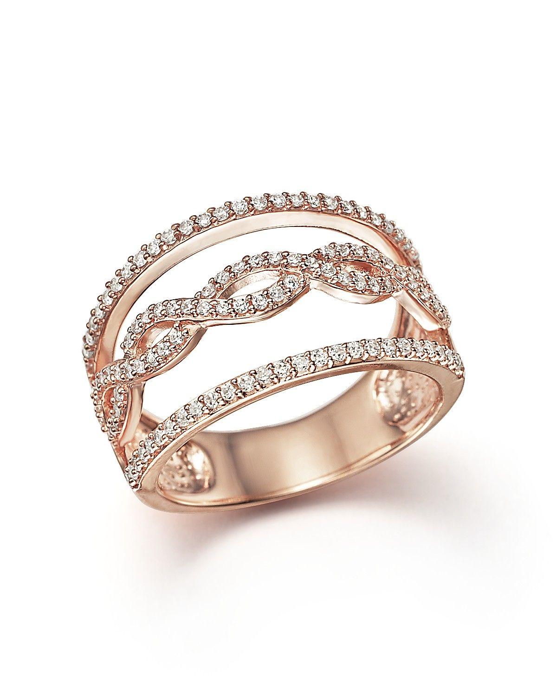 Diamond MultiRow Ring in 14K Rose Gold 50 ct tw