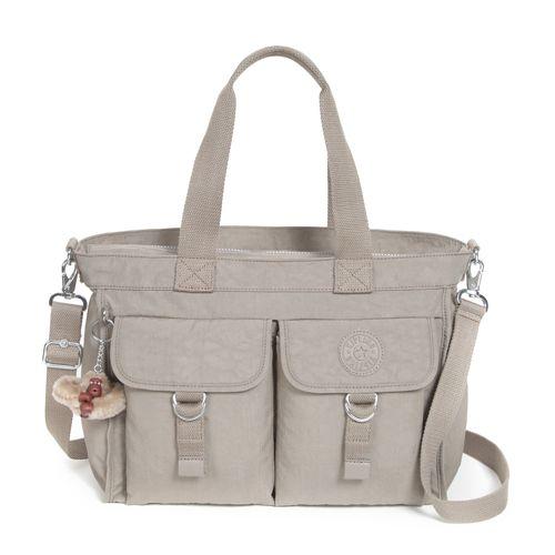 Kipling Elise A4 Shoulder Bag Warm Grey Handbags Beales