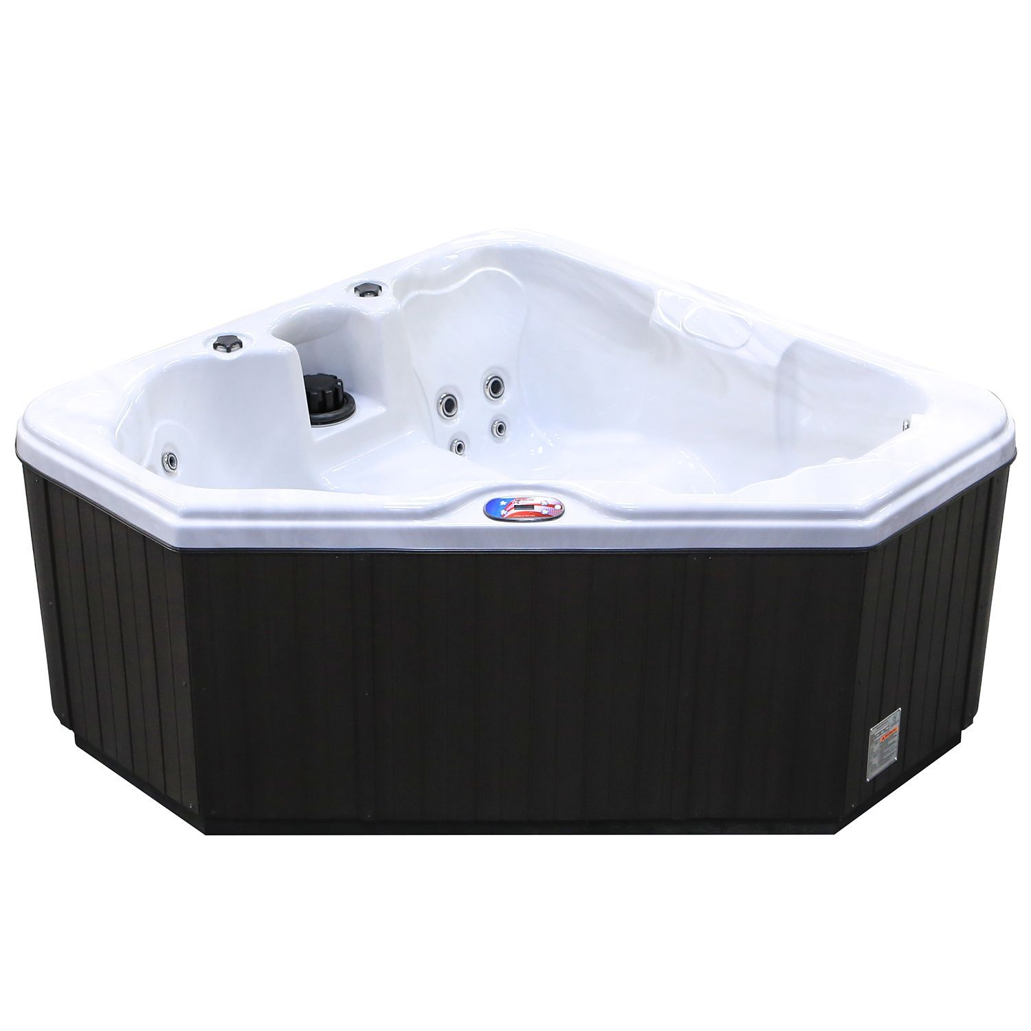 American Spas 2-Person 28-Jet Triangle Sterling Spa with Multi Color ...