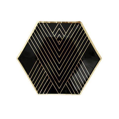 Noir - Black Hexagon Small Party Plates