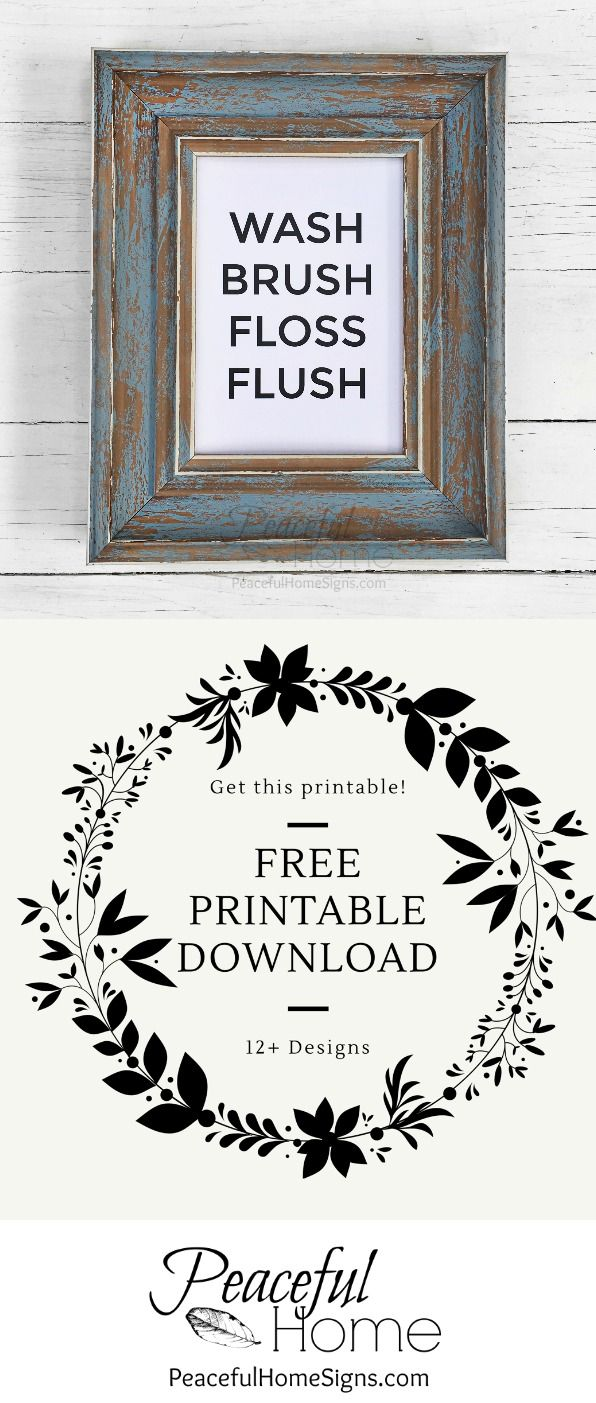 free printables | bathroom printable, wash brush and free black