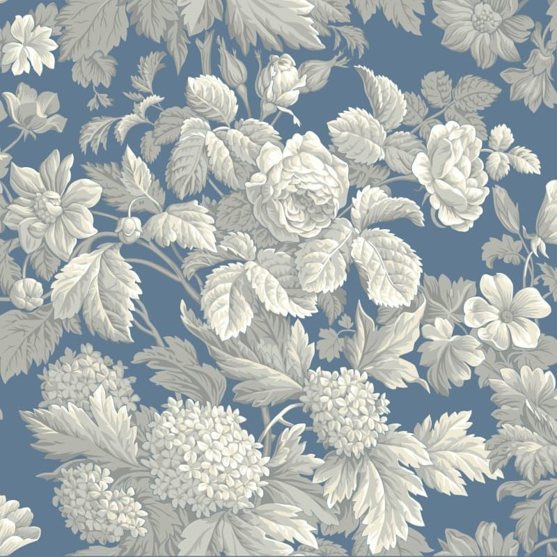 York Wallcoverings Kc1845 Blue Book Antique Floral