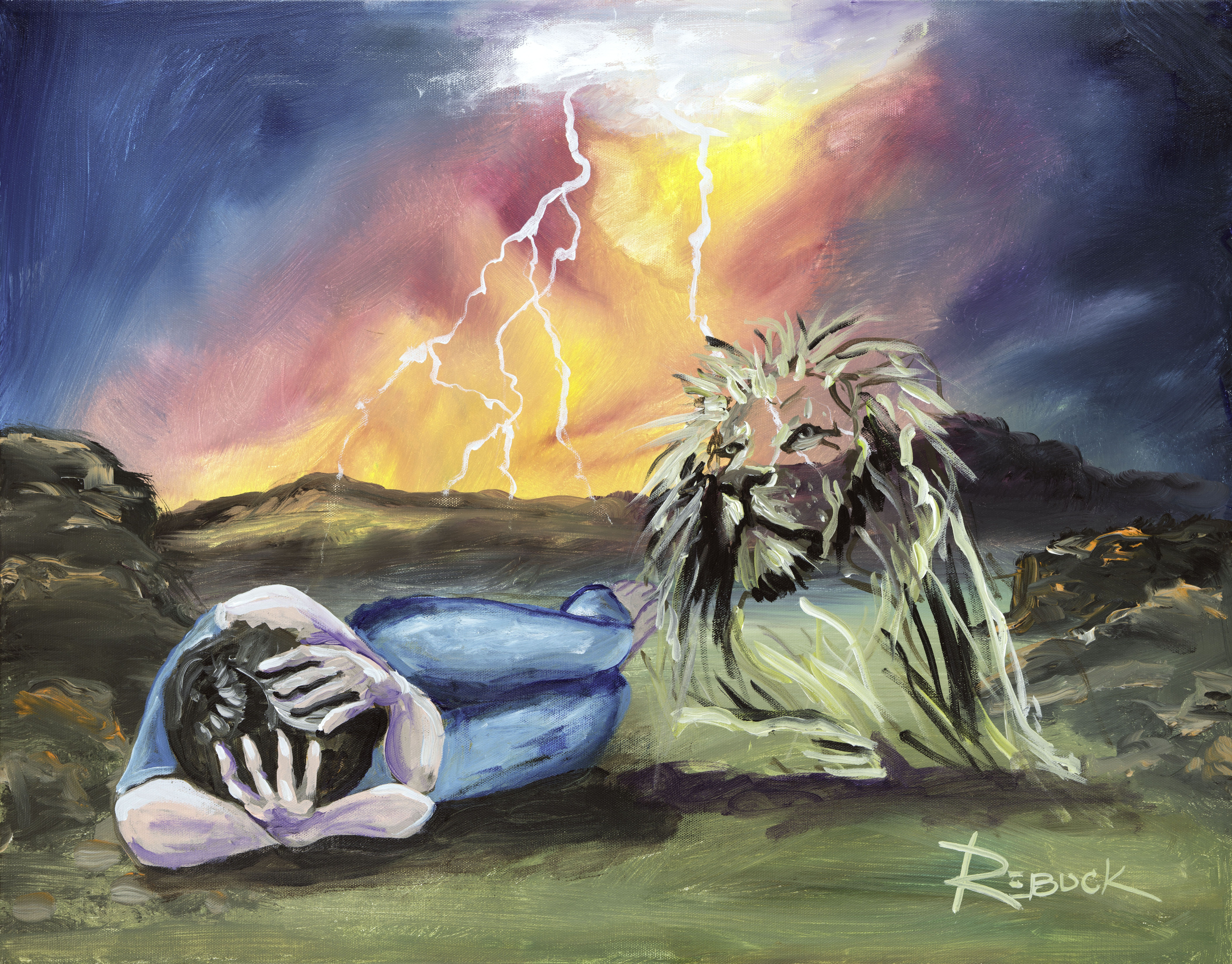 Lion of Judah laying down with man. Prophetic art painted ...