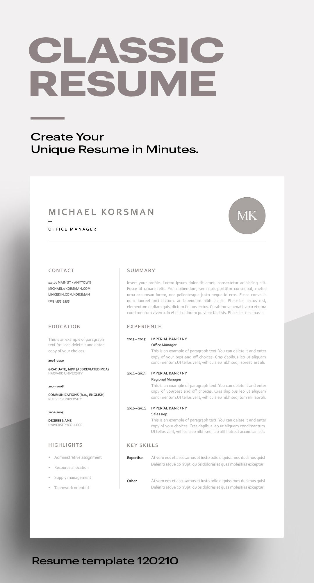 Make a great first impression with a classic resume