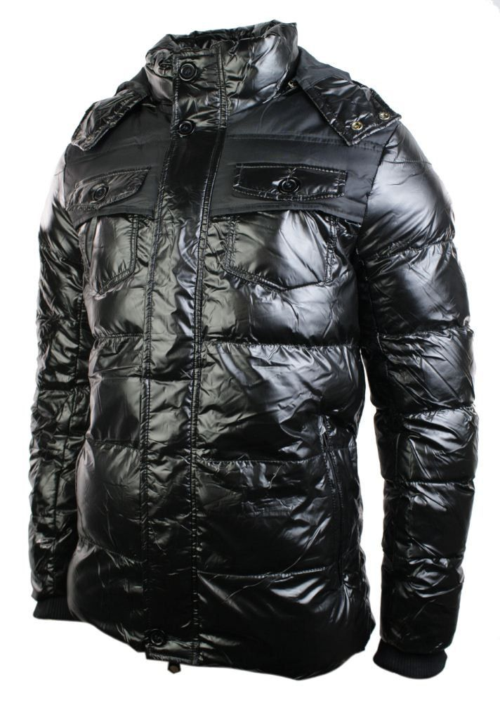 mens shiny puffer jacket is a black down hoodie winter
