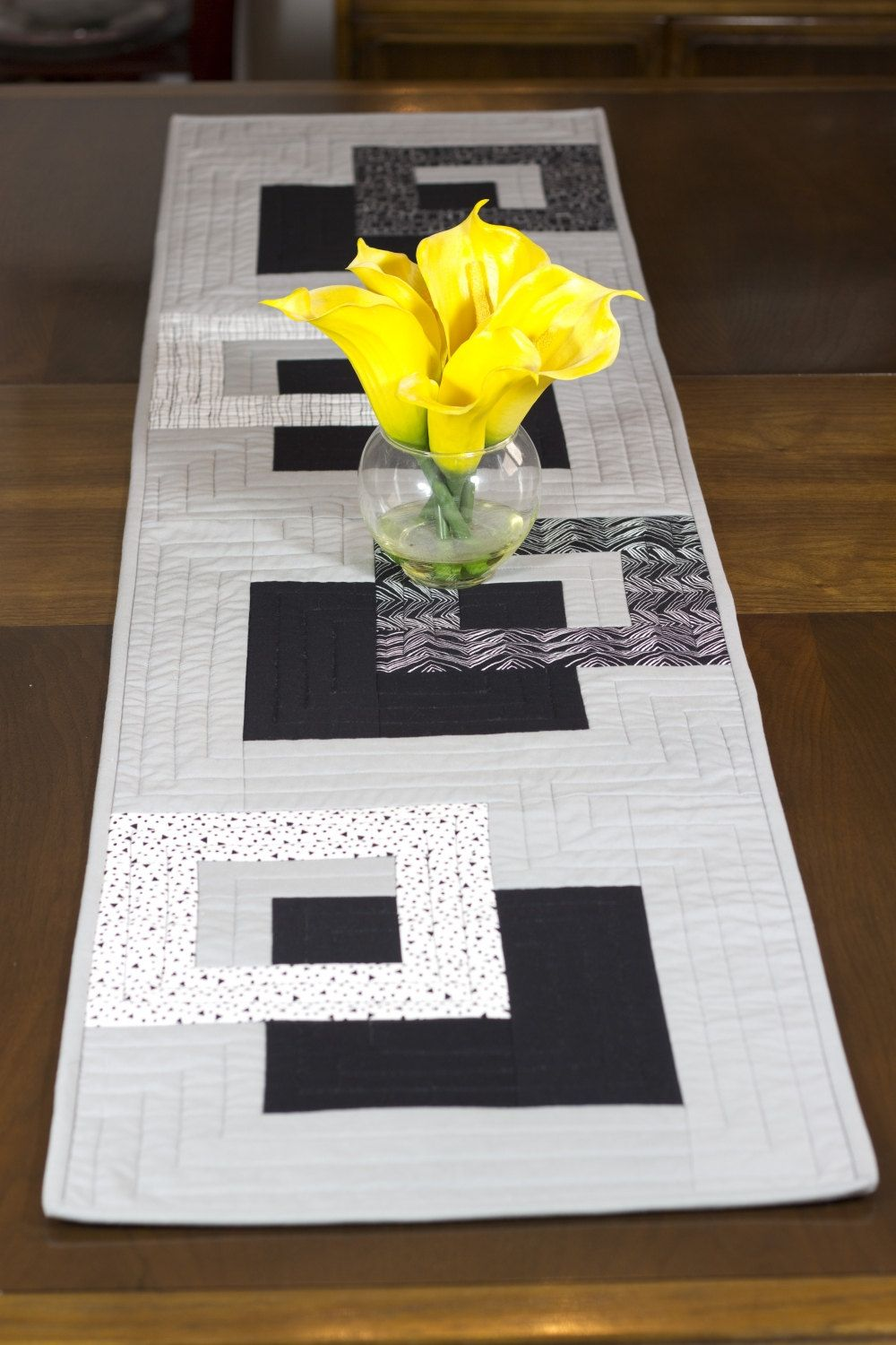 Modern quilted table runner black white and grey