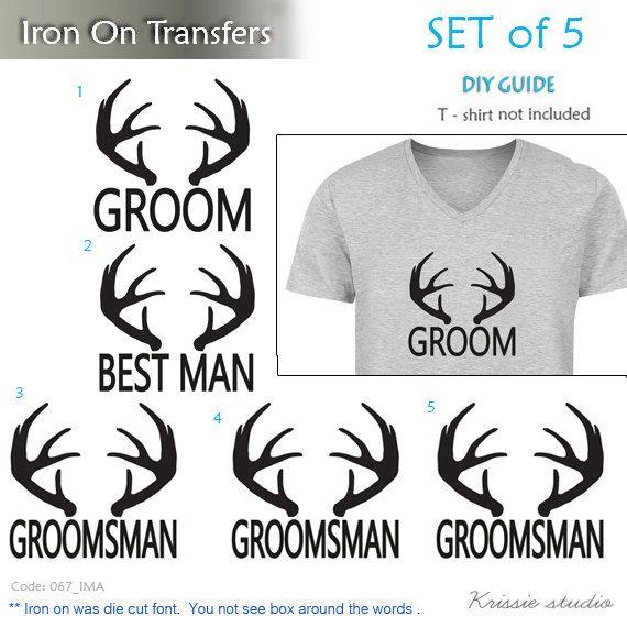 Set of 5 ,1- Groom,1- Best man,3-Groomsman antler Heat