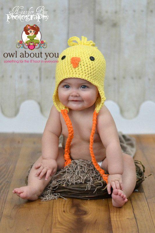 Baby Chick Crochet Earflap Hat by Owl About You | TERNURA Y CROCHET ...