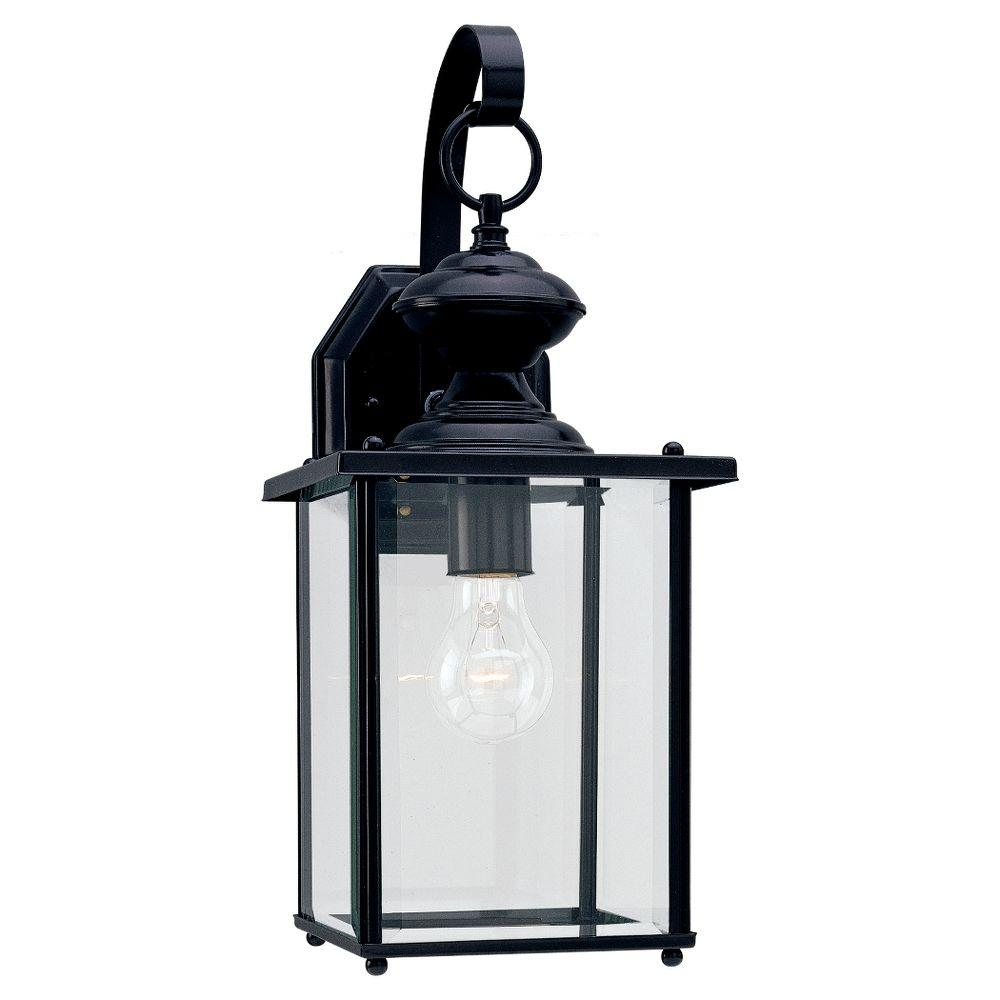Sea Gull Lighting Jamestowne 7 In W 1 Light Black Outdoor Wall Lantern Sconce With Clear Beveled Glass 8458 12 The Home Depot Black Outdoor Wall Lights Outdoor Wall Lighting Sea Gull Lighting