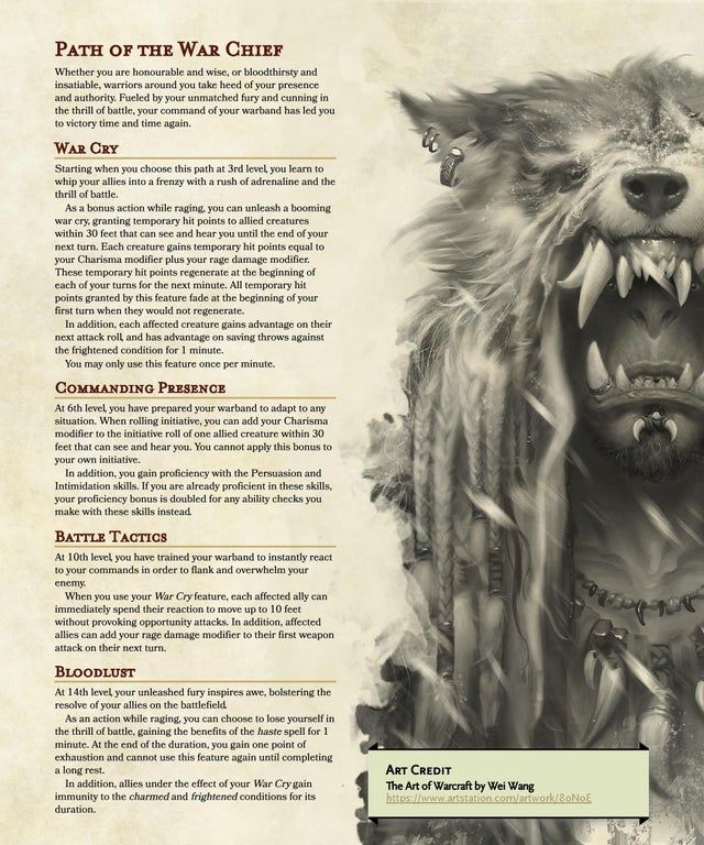 [Subclass] Primal Path Of The War Chief : UnearthedArcana