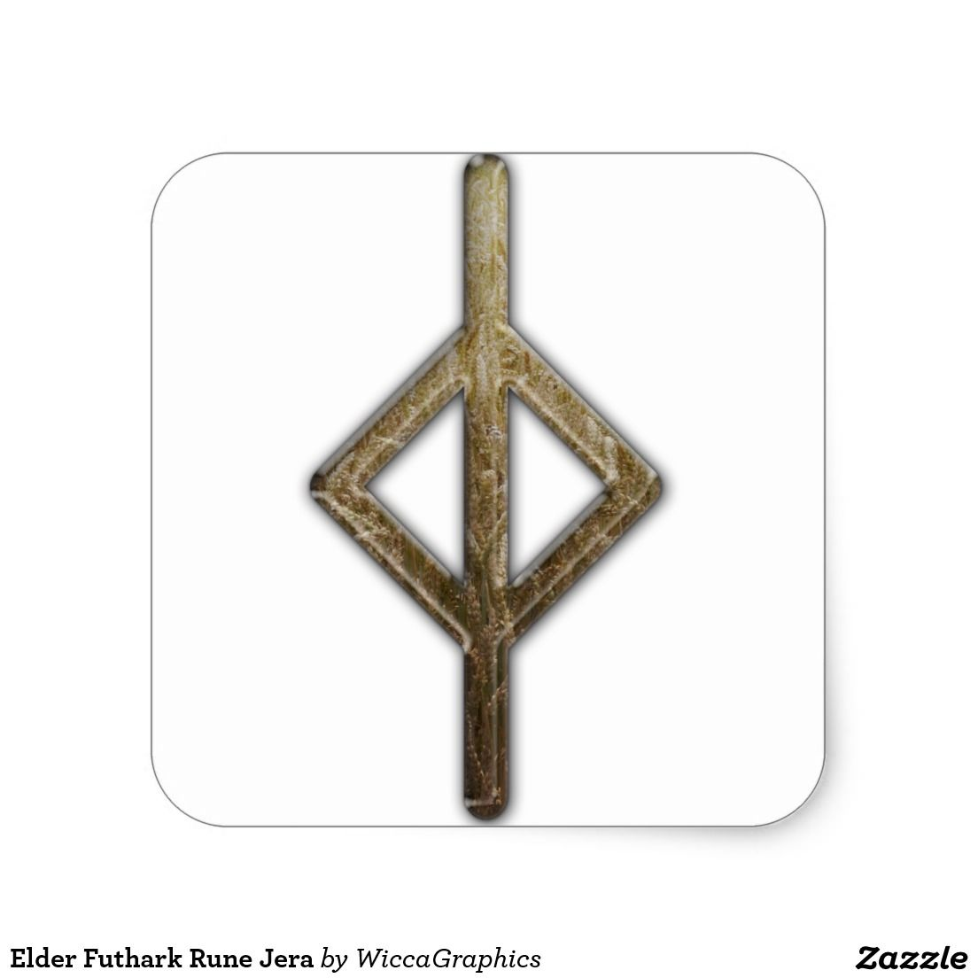 Elder futhark rune jera square sticker elder futhark runes anglo saxon rune poem for ger summer is mens exultation when god the holy king buycottarizona Images