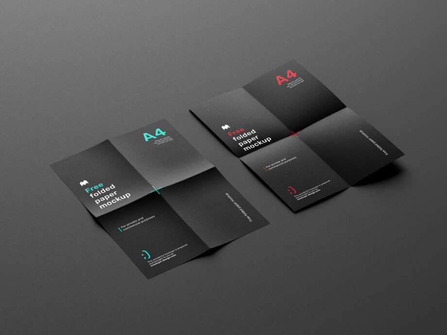 Free Folded Paper Mockup In 2021 Paper Mockup Flyer Mockup Stationery Mockup
