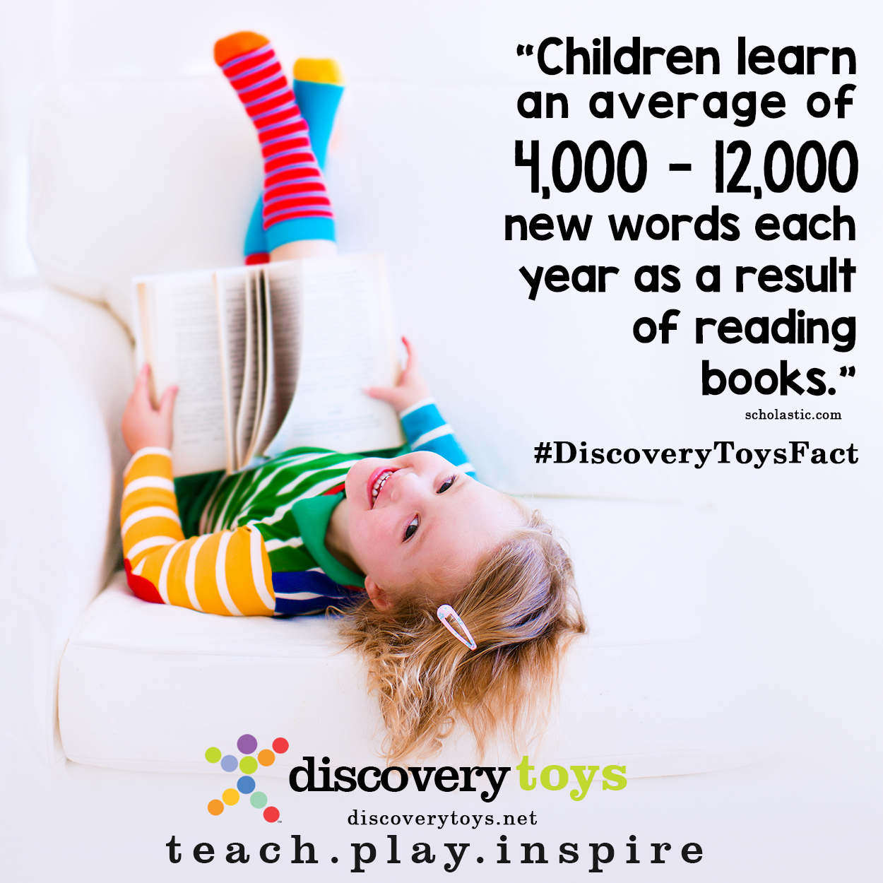 Did you know that reading is one of the ways that children begin to build their vocabularies? Promote your child's involvement in reading by reading to them daily and encouraging them to interact with books at an early age. #reading #earlyed #children #parents #discoverytoysfact #discoverytoys