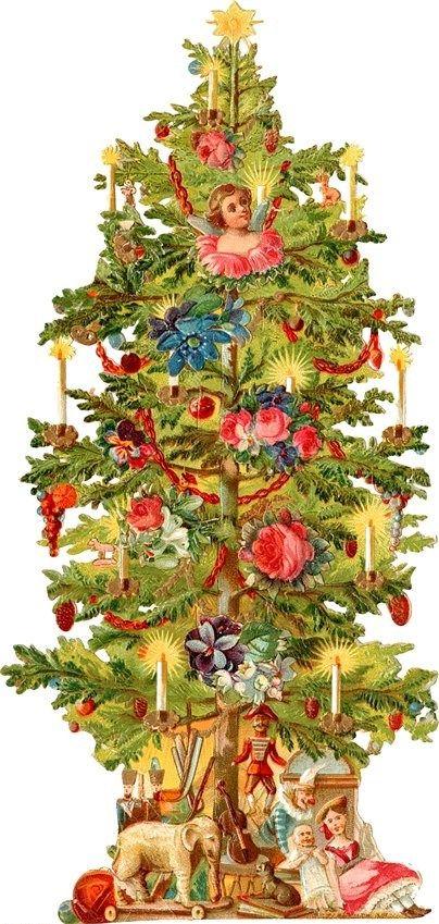 Zibi Vintage Scrap Choinka Victorian Christmas Tree Christmas Ephemera Christmas Prints
