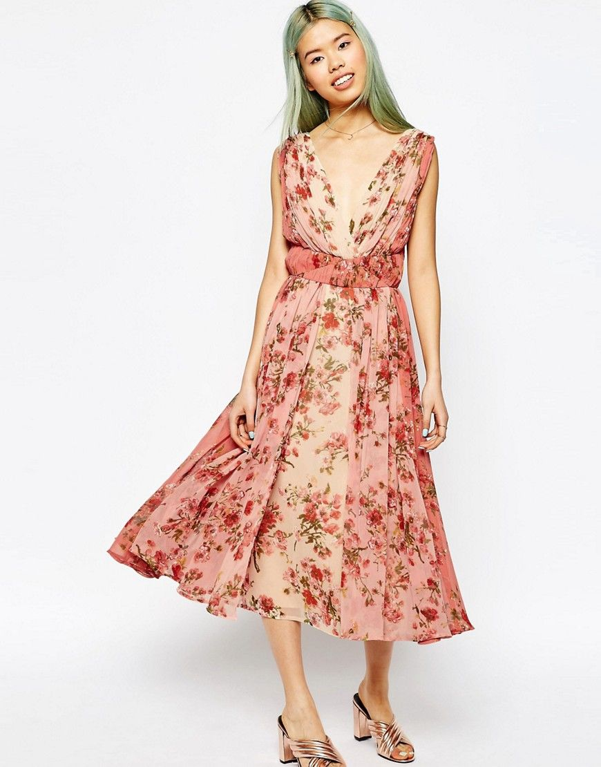 Image of asos ombre pretty floral midi prom dress best guest
