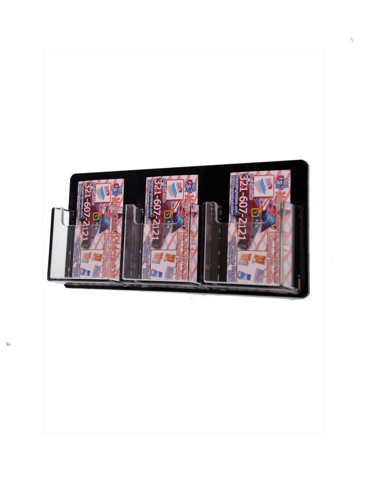 Qty 6 Wall Business Card Rack Clear 3 Pocket Black Vertical Business ...