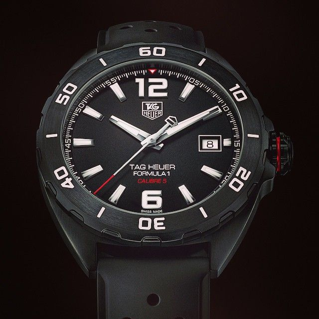 """@calibre11's photo: """"New TAG Heuer Formula 1 Full Black Calibre 5 looks the part- really like this one #tagheuer #tagheuerformula1 #formula1 #f1 #calibre11"""""""