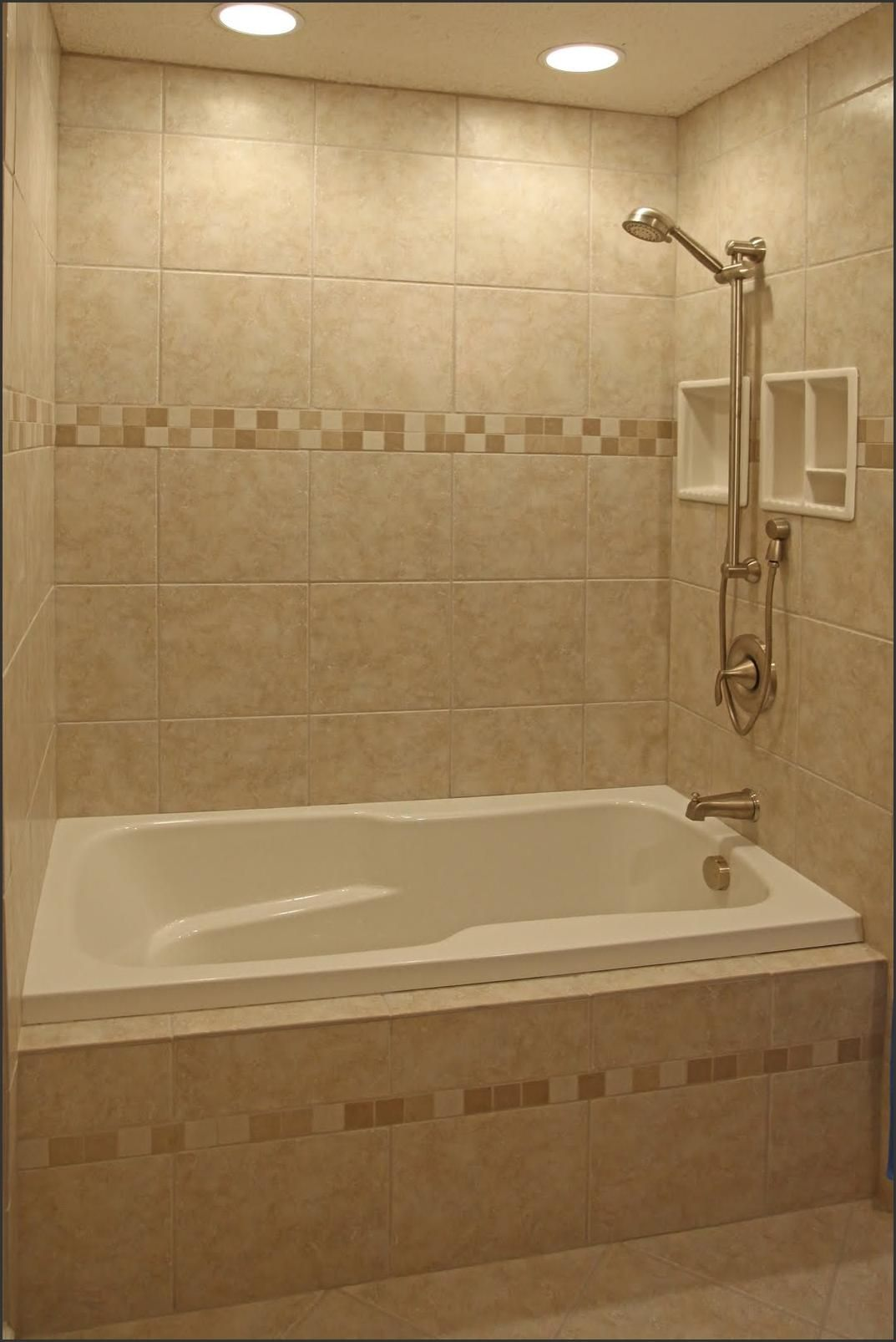 Love everything in this tub insert neutral warm tile with accent tile bathroom shower design ideas ceramic recessed lighting on dimmer nothing like having lights above you dailygadgetfo Images