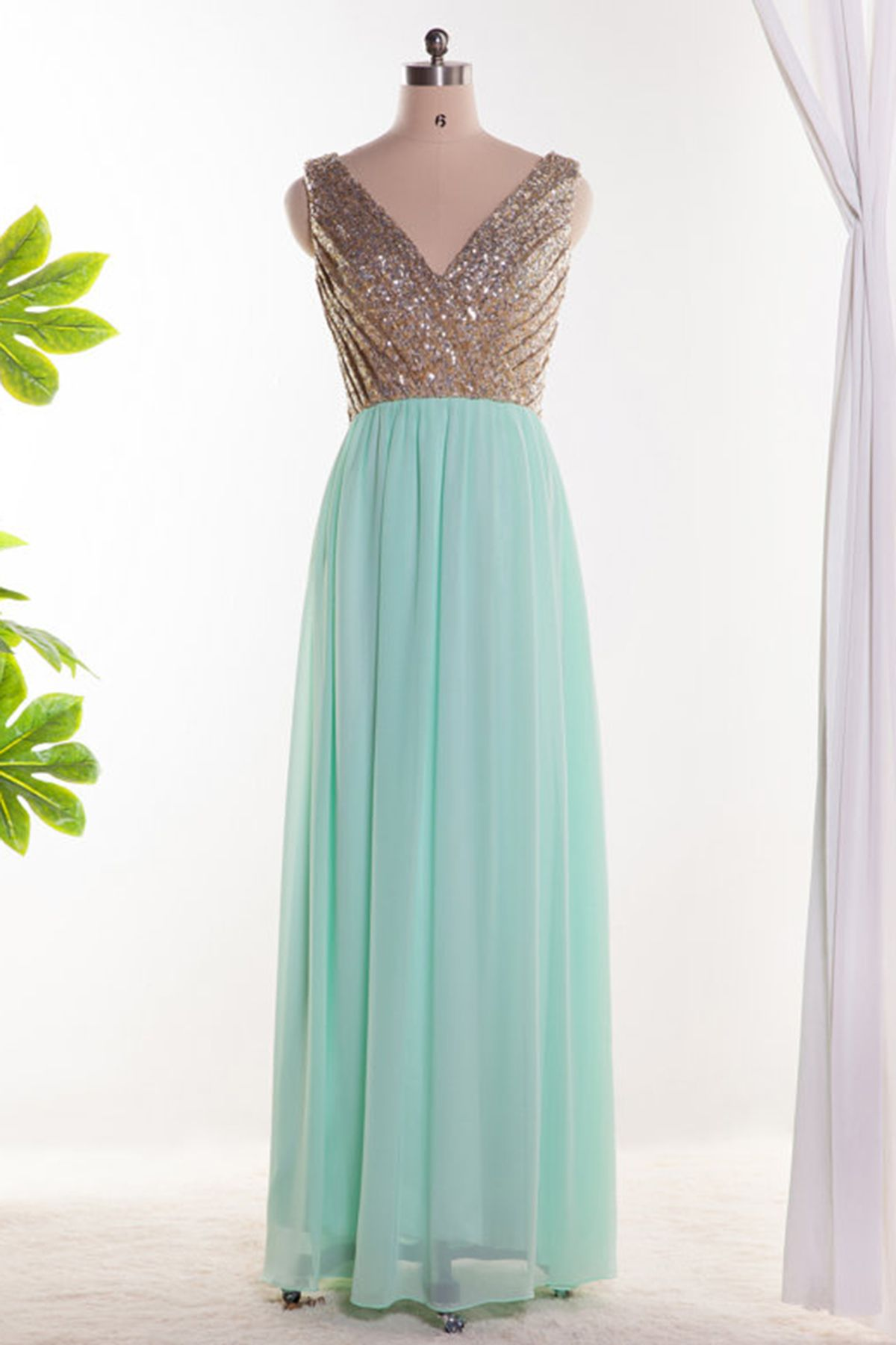 Mint chiffon gold sequins V neck long A-line party dress from ...