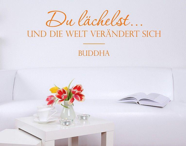 Wandtattoo Du lächelst Lachen Buddha Welt