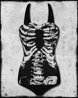 c3d581987e6 Banned black white skeleton bones ribcage 1 piece goth punk ...