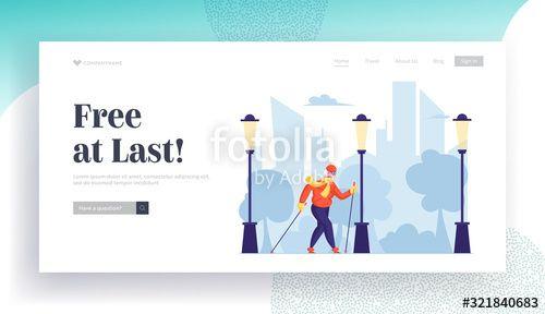 Aged Lady Sports Activity Routing Website Landing Page Senior Lady Exercising with Scandinavian Walking Sticks Healthy Lifestyle and Outdoors Sport Web Page Banner Cartoo...