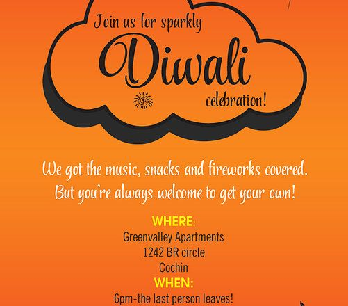 Diwali celebration invitation with creative sparkles and background - best of invitation card format for vastu shanti